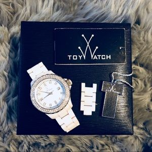TOY WATCH white and silver enamel watch with box